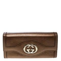 Gucci Brown Leather Interlocking GG Continental Wallet