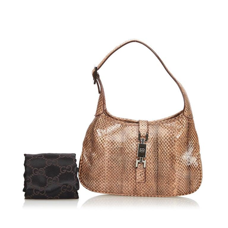 Gucci Brown Leather Jackie Shoulder Bag For Sale 8