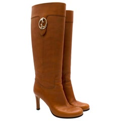 Gucci Brown Leather Knee High Heeled GG Boots  - Us size 6.5