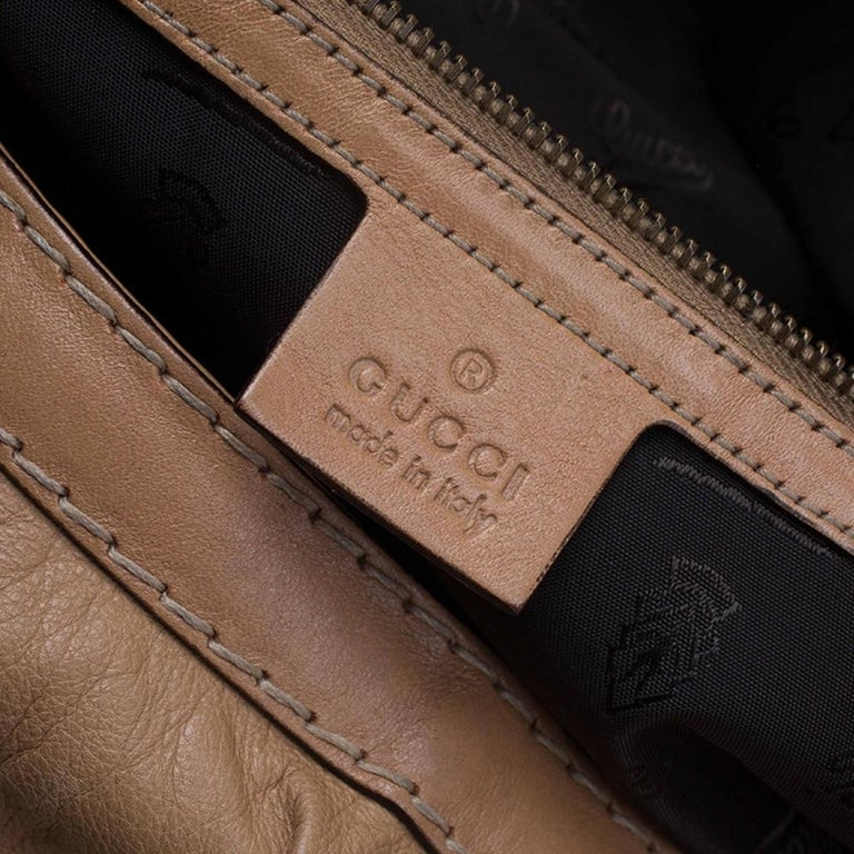 Gucci Brown Leather Large Jockey Hobo For Sale 10