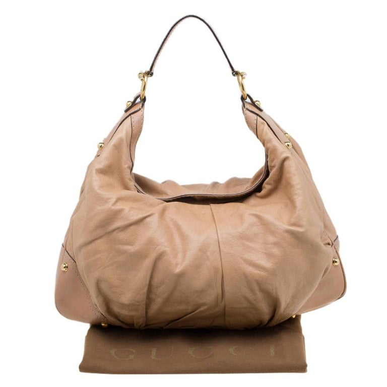 Gucci Brown Leather Large Jockey Hobo For Sale 12