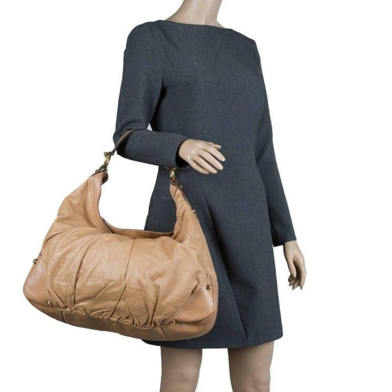 Gucci Brown Leather Large Jockey Hobo In Good Condition For Sale In Dubai, Al Qouz 2