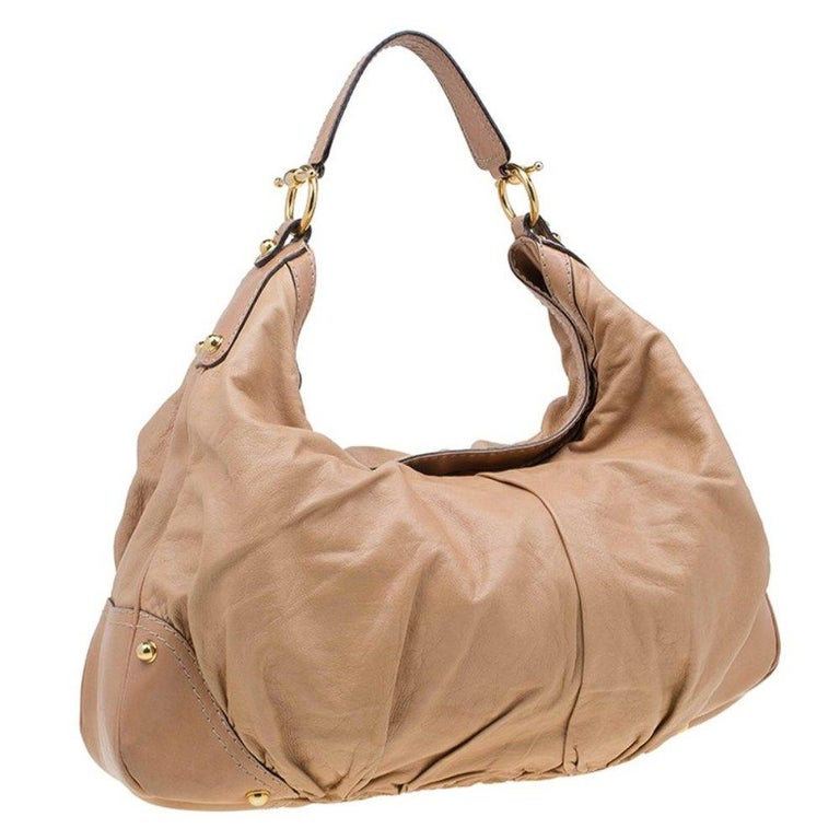 Women's Gucci Brown Leather Large Jockey Hobo For Sale