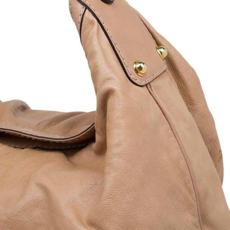 Gucci Brown Leather Large Jockey Hobo For Sale 2