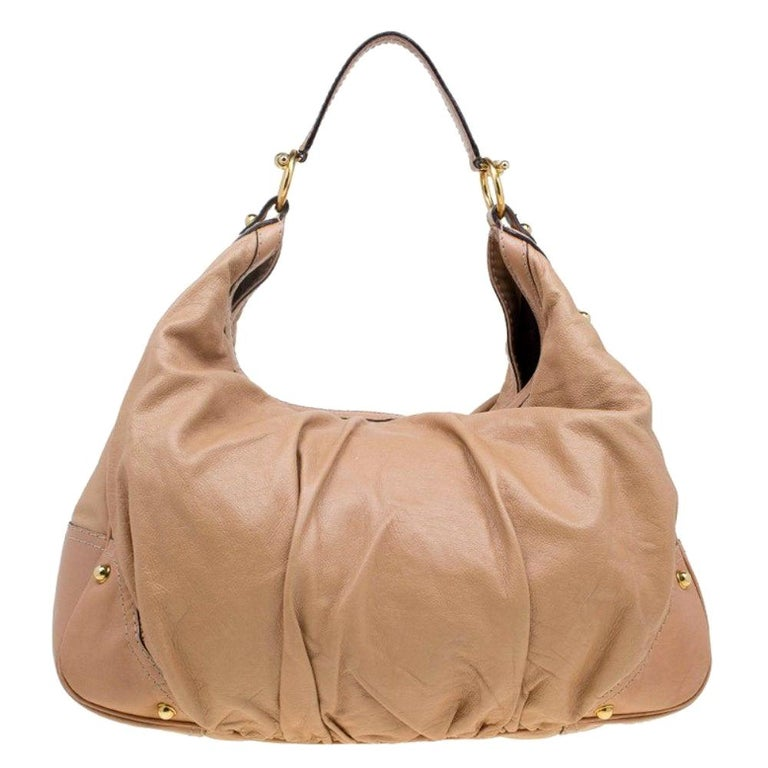 Gucci Brown Leather Large Jockey Hobo For Sale