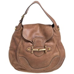 Gucci Brown Leather Large New Pelham Horsebit Shoulder Bag