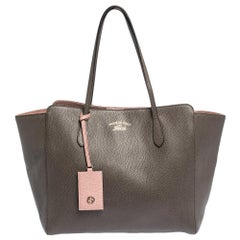 Gucci Brown Leather Large Swing Shopper Tote