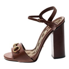 Gucci Brown Leather Lifford Horsebit Ankle Strap Sandals Size 37