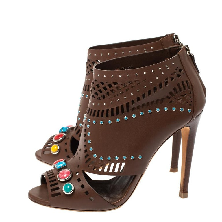Gucci Brown Leather Lika Stone Embellished Ankle Booties Size 39 3