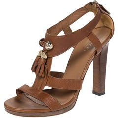 Gucci Brown Leather Marrakech Tassel Detail T-Strap Sandals Size 37