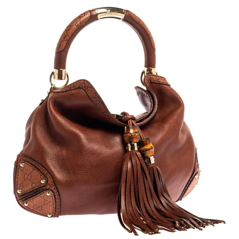 Women's Gucci Brown Leather Medium Babouska Indy Hobo For Sale