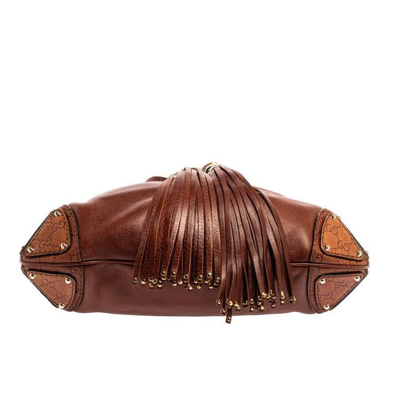 Gucci Brown Leather Medium Babouska Indy Hobo For Sale 1