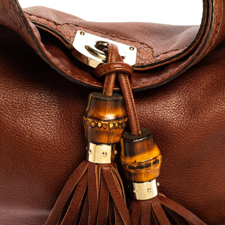 Gucci Brown Leather Medium Babouska Indy Hobo For Sale 5