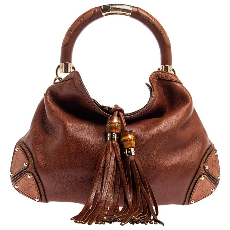 Gucci Brown Leather Medium Babouska Indy Hobo For Sale