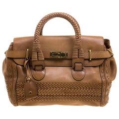 Gucci Brown Leather Medium Handmade Top Handle Satchel