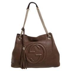 Gucci Brown Leather Medium Soho Chain Tote