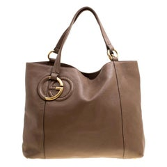 Gucci Brown Leather Medium Twill Tote