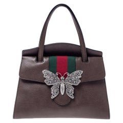 Gucci Brown Leather Medium Web Butterfly Embellished Medium Linea Totem Tote