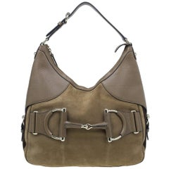Gucci Brown Leather Medium Web Horsebit Heritage Hobo