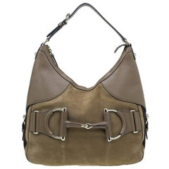 Gucci Braune Leder Medium Web Horsebit Heritage Hobo