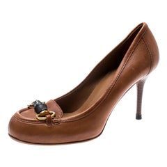 Gucci Brown Leather Miss Bamboo Horsebit Loafer Pumps Size 36