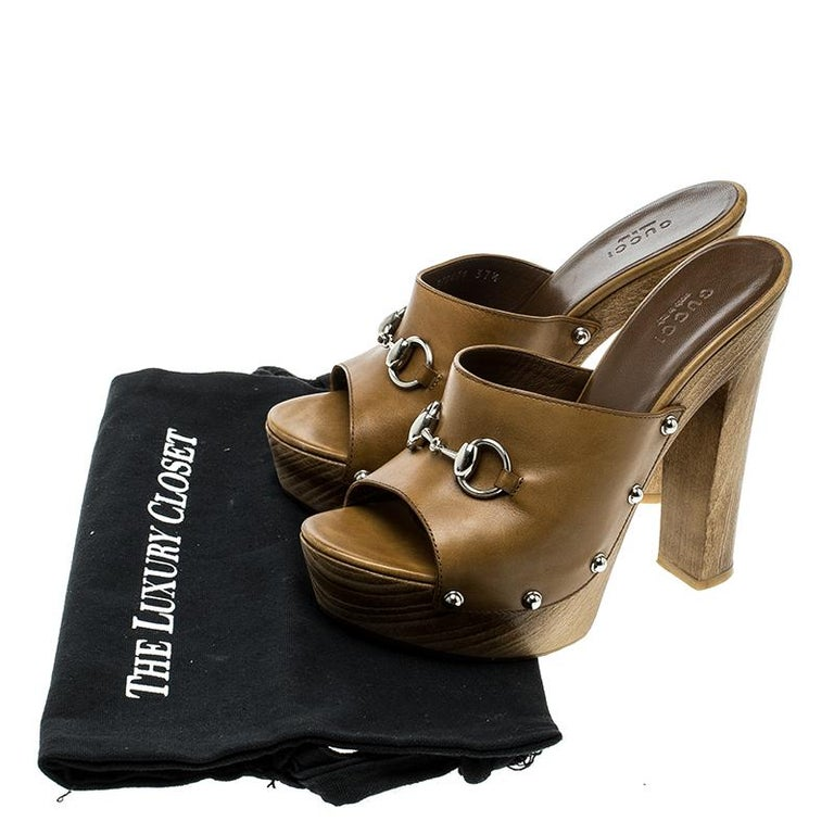 d170dfe91 Gucci Brown Leather Morena Horsebit Platform Mules Size 37.5 For Sale 2