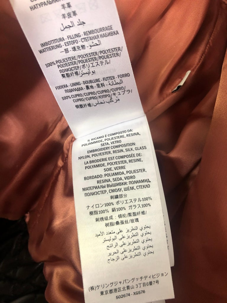 GUCCI Brown Leather Moto Jacket w/ Pearls Size 44 For Sale 5