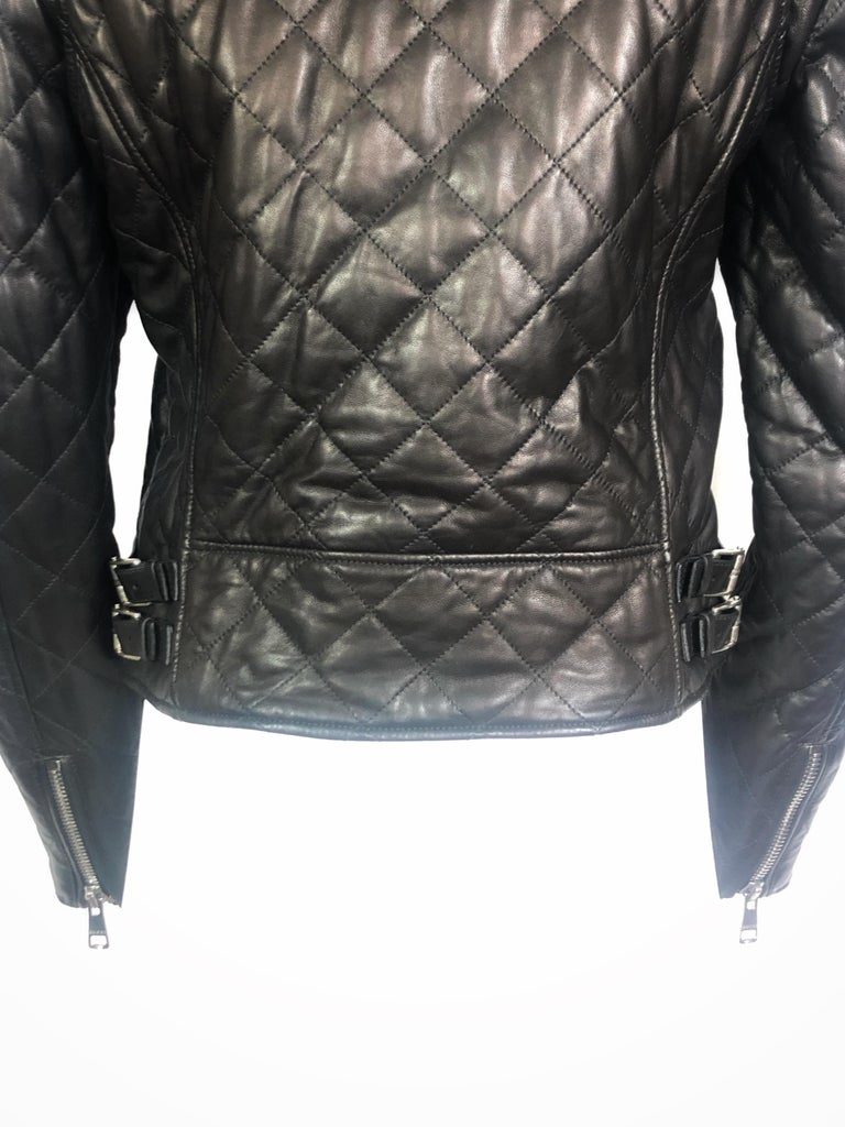 Black GUCCI Brown Leather Moto Jacket w/ Pearls Size 44 For Sale