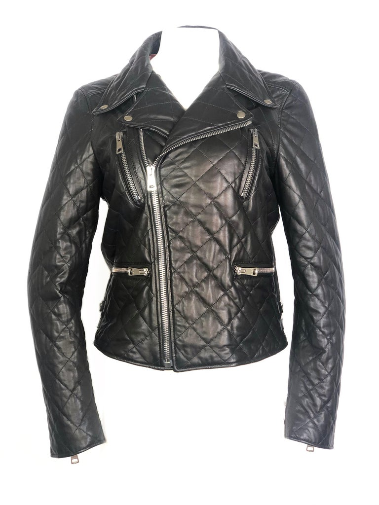 GUCCI Brown Leather Moto Jacket w/ Pearls Size 44 For Sale 2