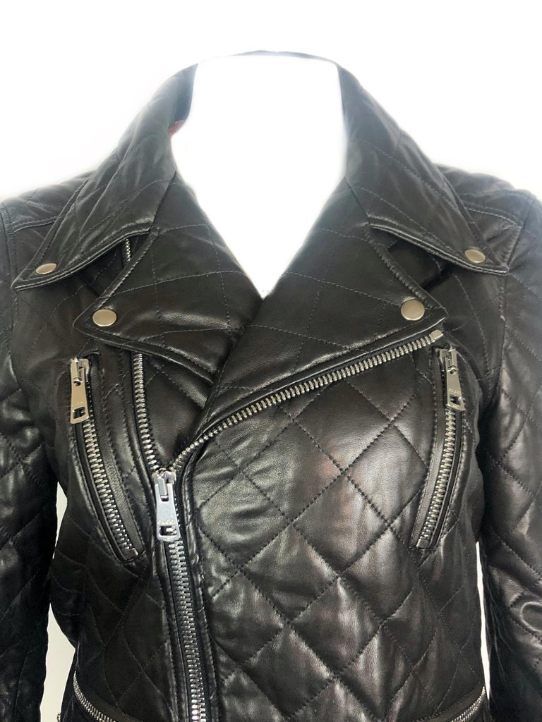 GUCCI Brown Leather Moto Jacket w/ Pearls Size 44 For Sale 3