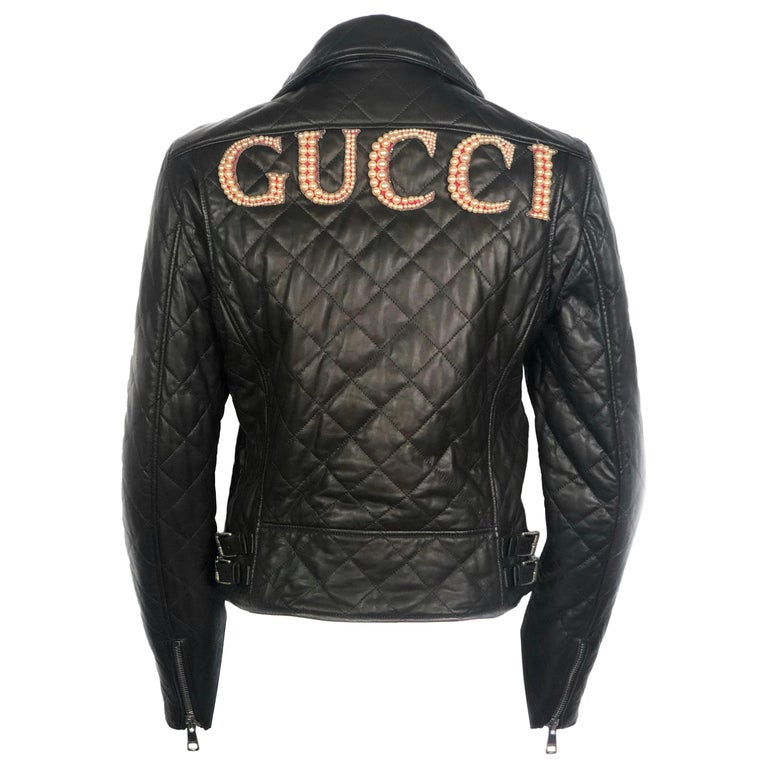 GUCCI Brown Leather Moto Jacket w/ Pearls Size 44 For Sale