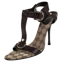 Gucci Brown Leather Open Toe Ankle Strap Sandals Size 39.5
