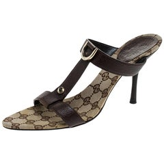 Gucci Brown Leather Open Toe Sandals Size 39