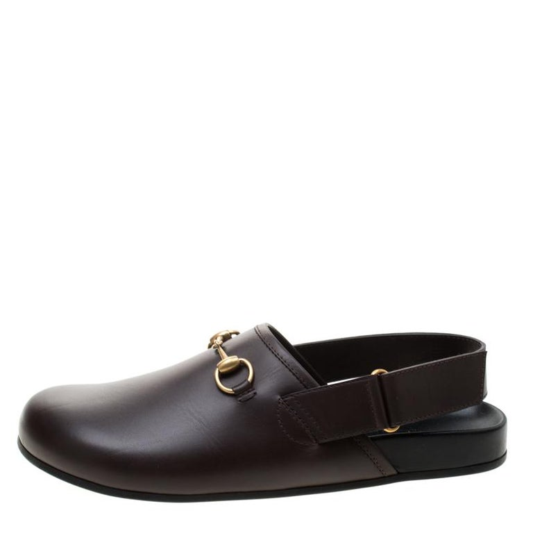 Gucci Brown Leather River Horsebit Slippers Size 43 1