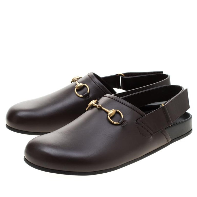 Gucci Brown Leather River Horsebit Slippers Size 43 2