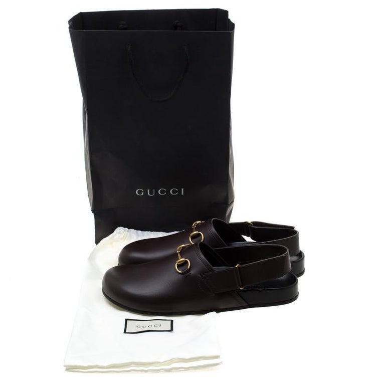 Gucci Brown Leather River Horsebit Slippers Size 43 3