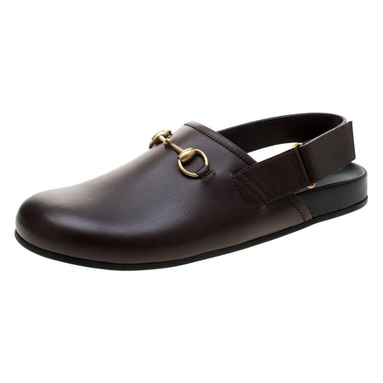 Gucci Brown Leather River Horsebit Slippers Size 43