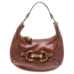 Gucci Brown Leather Small Horsebit Amalfi Hobo