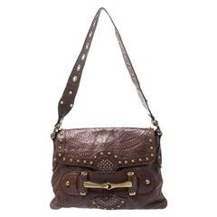 Gucci Brown Leather Studded Pelham Runway Shoulder Bag