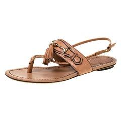 Gucci Brown Leather Tassel Horsebit Thong Flat Sandals Size 37