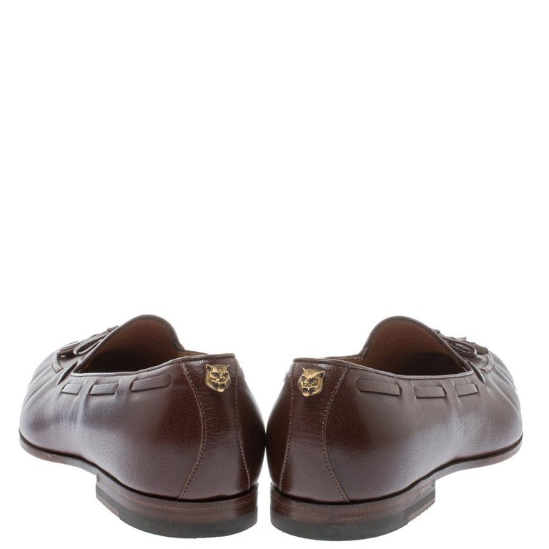Black Gucci Brown Leather Tassel Loafers Size 41 For Sale