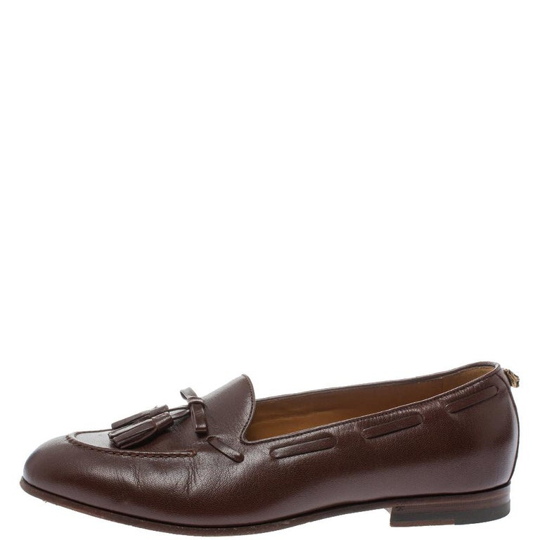 Men's Gucci Brown Leather Tassel Loafers Size 41 For Sale