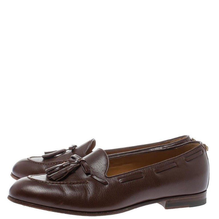 Gucci Brown Leather Tassel Loafers Size 41 For Sale 1