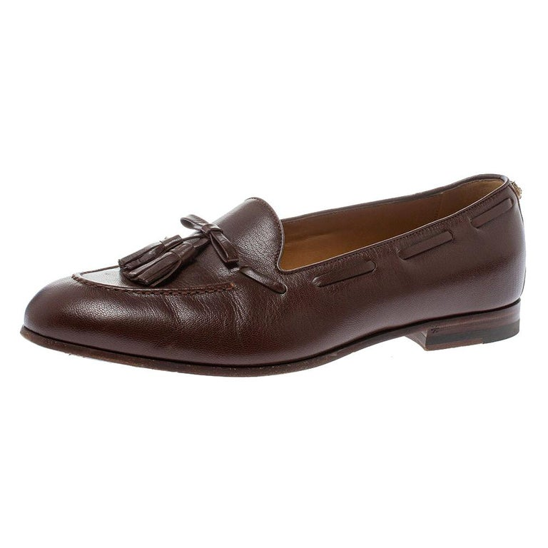 Gucci Brown Leather Tassel Loafers Size 41 For Sale