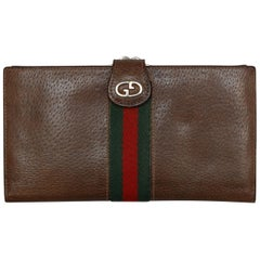 Gucci Brown Leather Web-Accented Wallet