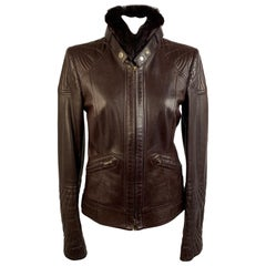 Gucci Brown Leather Women Biker Jacket Fur Collar Size 40