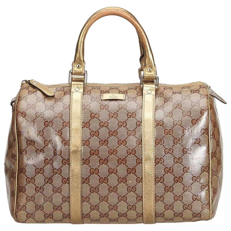 894a221e9 Gucci Brown Light Brown Coated Canvas Fabric GG Supreme Boston Bag Italy  For Sale