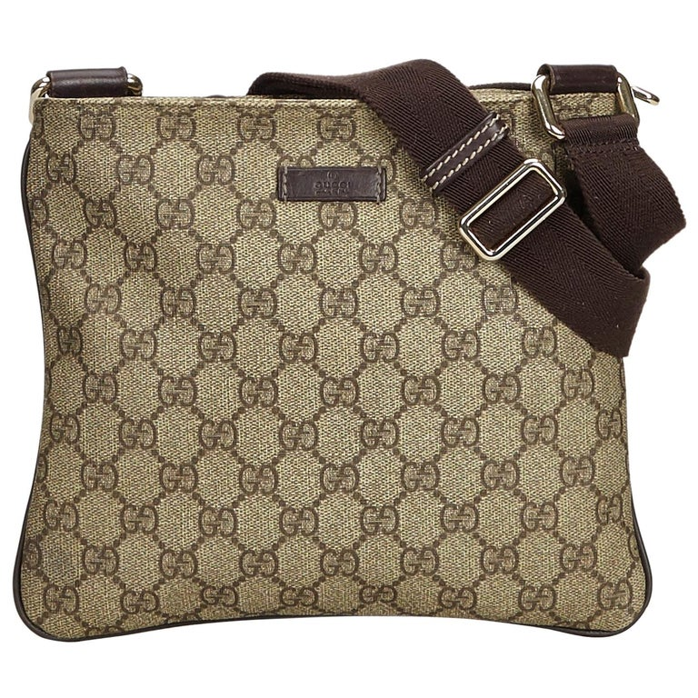 604e56e27 Gucci Brown Light Brown Coated Canvas Fabric GG Supreme Crossbody Bag Italy  For Sale
