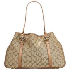 8bf285c6db37 Gucci Brown Light Brown Jacquard Fabric GG Twin Tote Bag Italy w/ Dust Bag