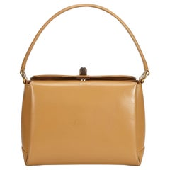 Gucci Brown Light Brown Leather Bamboo Handbag Italy w/ Dust BagBox